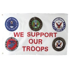 Support our troops 3'x5' Flag(Emblems)
