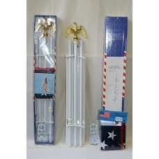 "White Steel Pole Kit 6FT 3/4"" with 3'x5' American USA Flag"