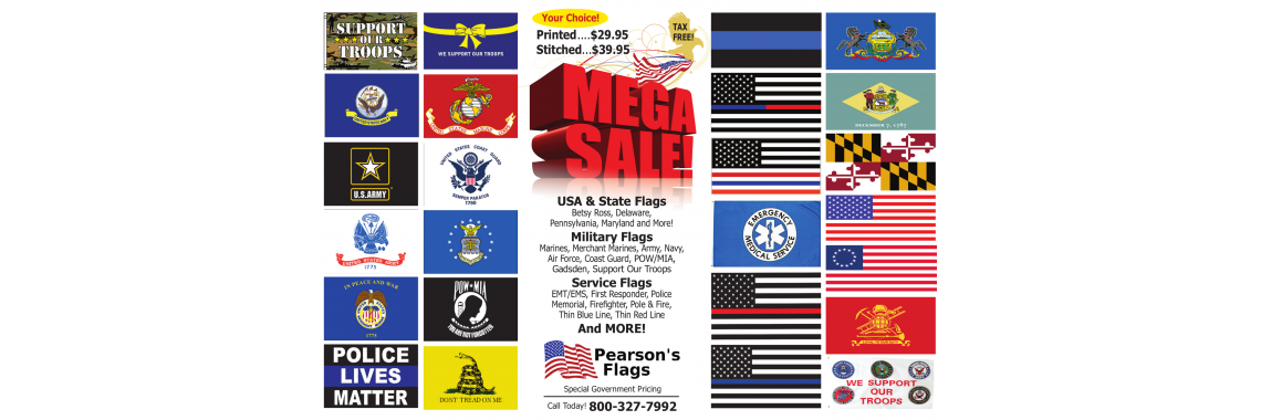 Police, Military, and State flag  MEGA SALE!!