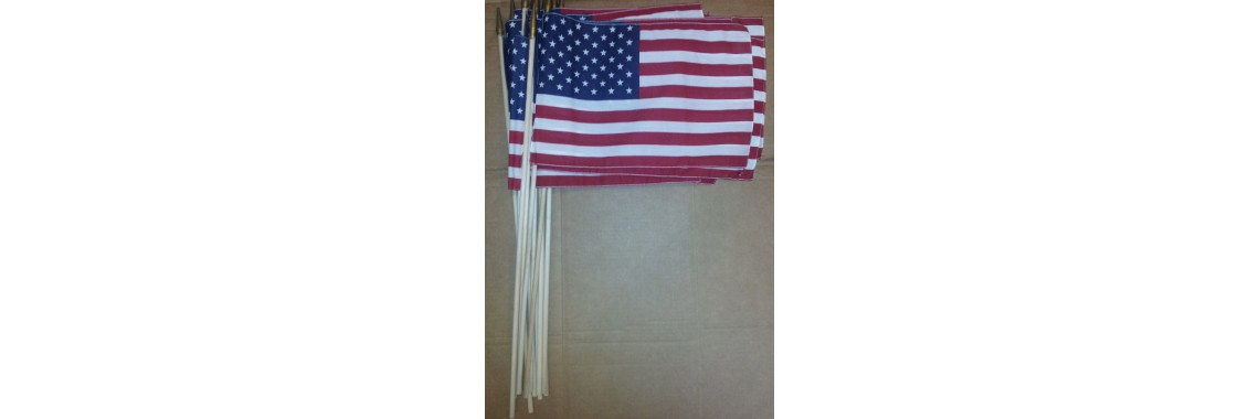 "12"" x 18"" USA flags with wooden pole"