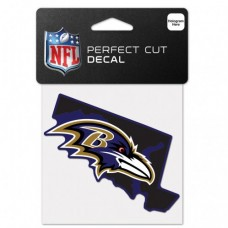"Baltimore Ravens State Shaped Perfect Cut Color Decal 4"" X 4"""